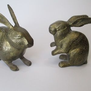 Vintage brass bunny rabbit pair